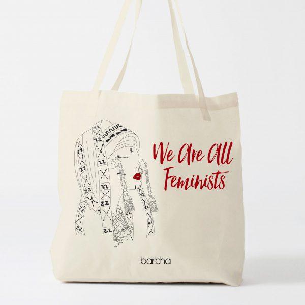 feminist theme tote bag