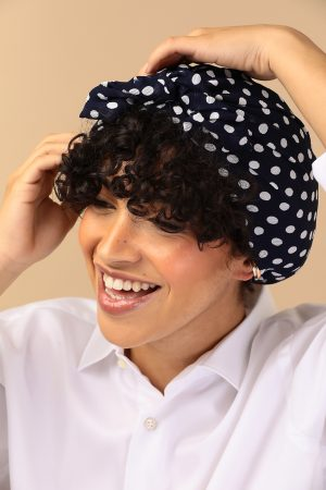 turban with blue and white dots