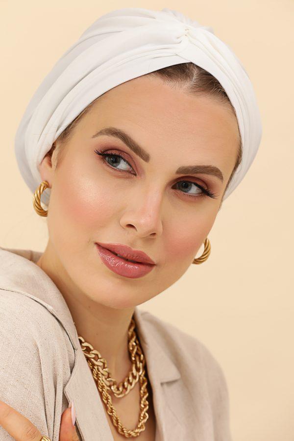 turban uni blanc flexible