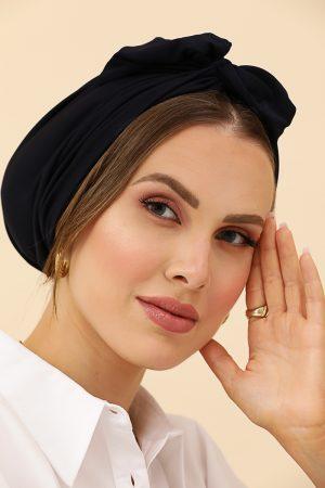 turban bleu marine flex à noeud